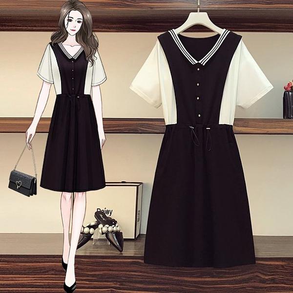 洋裝 連身裙 中大尺碼L-4XL中大尺碼韓版寬鬆顯瘦拼接假兩件收腰洋氣連衣裙R06B.5017胖胖唯依