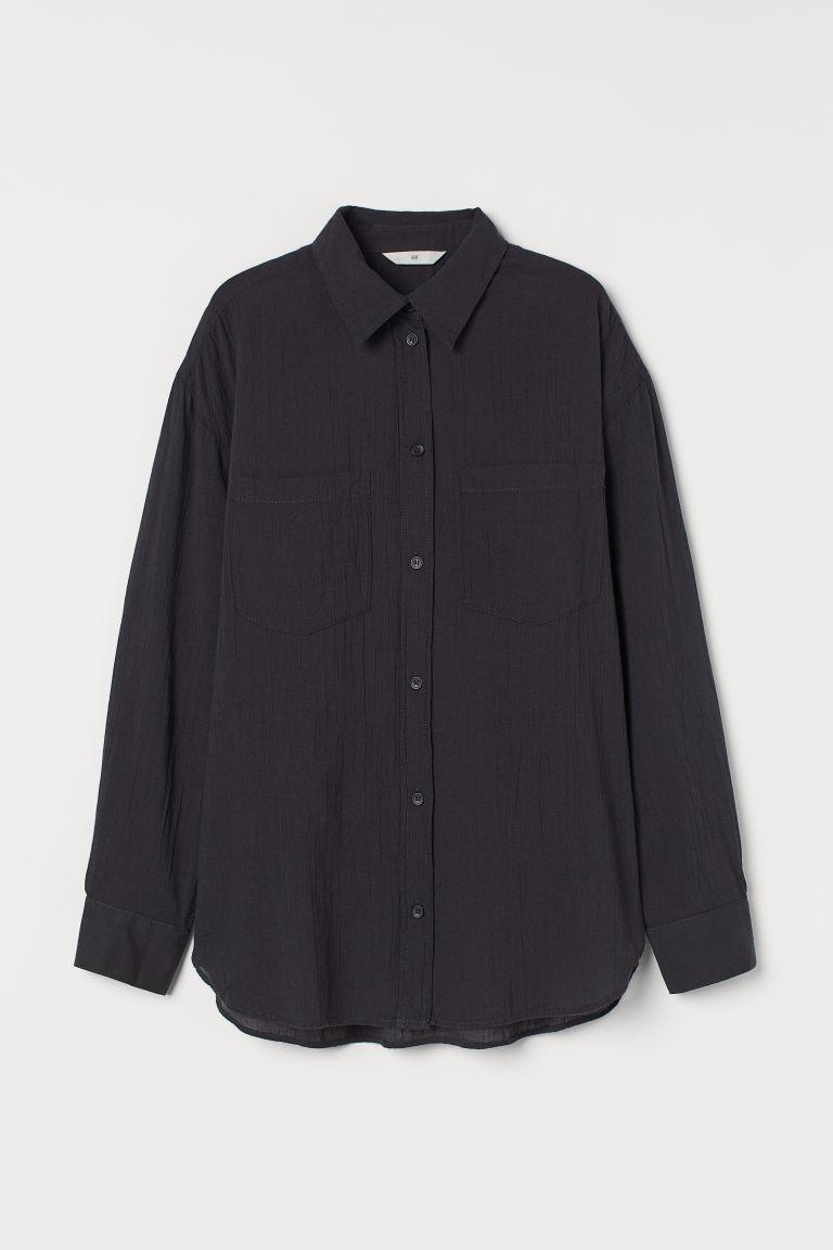 H & M - 棉質襯衫 - 黑色