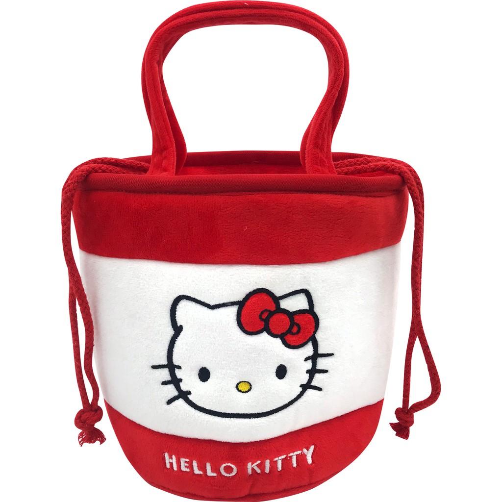 三麗鷗絨毛束口圓筒手提袋-Hello Kitty/美樂蒂