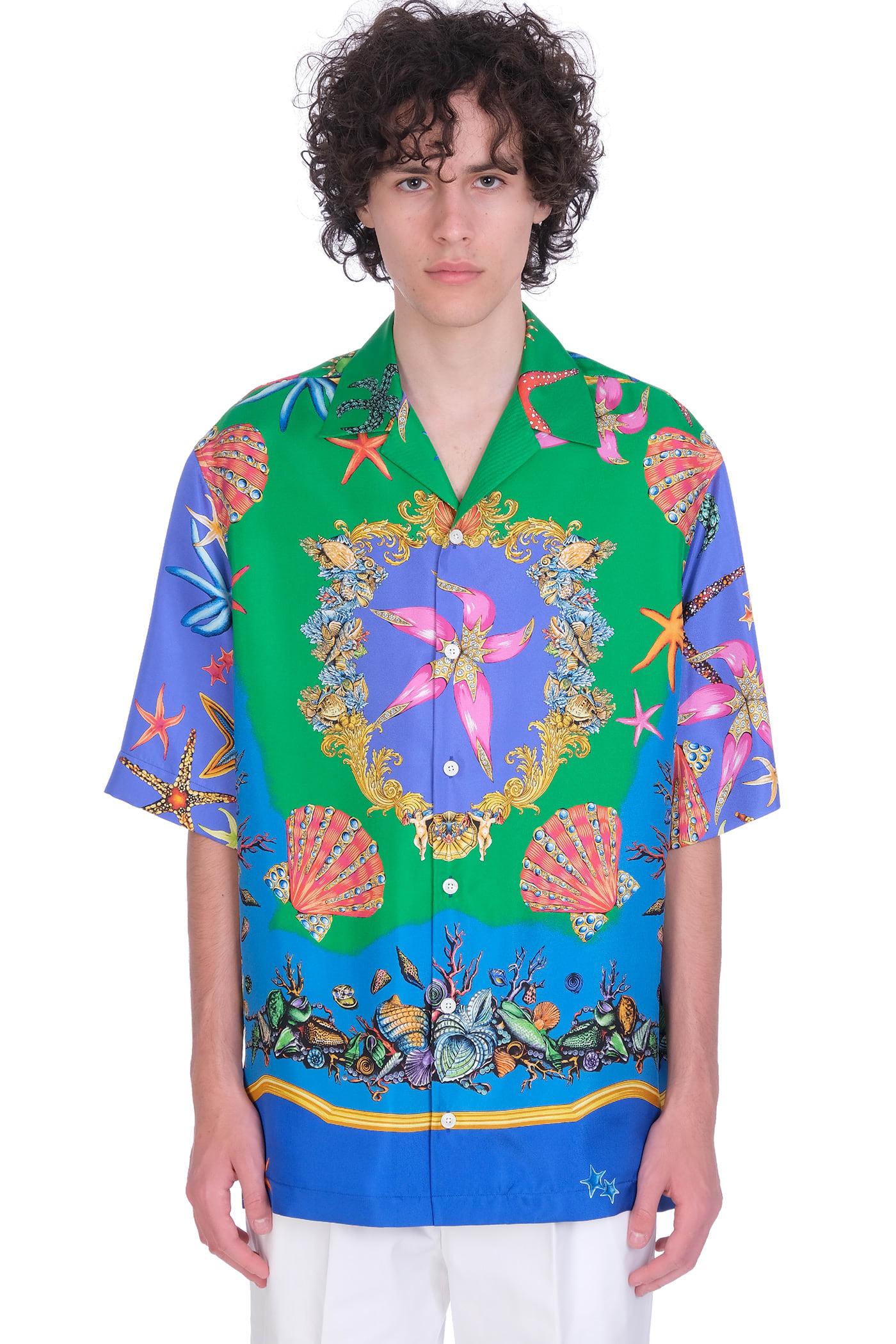 Versace Shirt In Green Silk