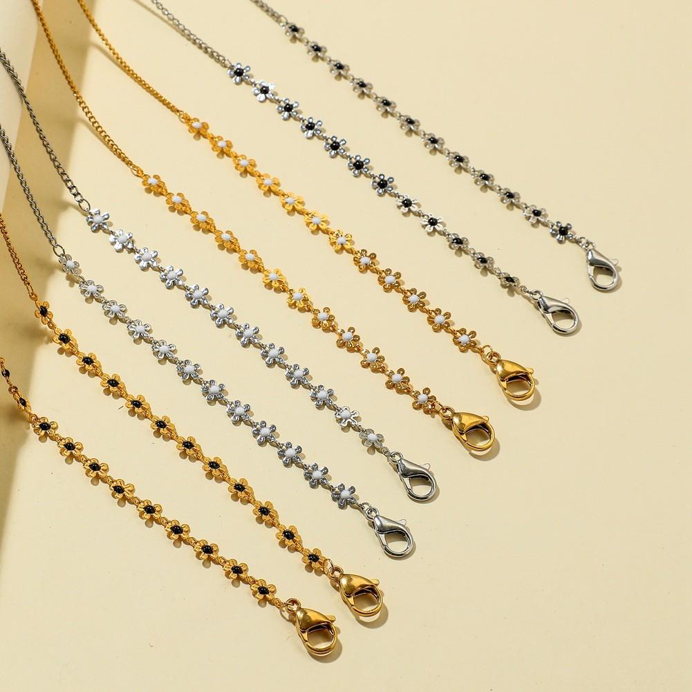 NEULRY韓國小花口罩掛鏈時尚不鏽鋼鍍金口罩防丟掛脖掛繩眼鏡鏈