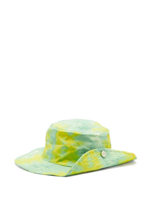 Ganni - Logo-plaque Abstract-print Recycled-fibre Hat - Womens - Green Multi