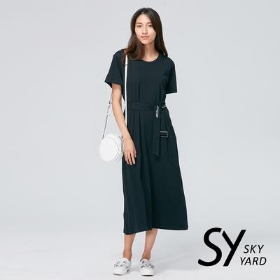 【SKY YARD 天空花園】悠閒可拆式綁帶長版洋裝-黑色