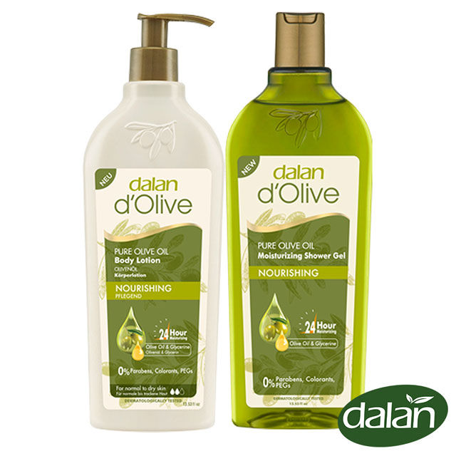 【土耳其dalan】頂級橄欖油極滋養PH5.5潤澤沐浴露400ml+橄欖油高效滋養身體修護乳液400ml