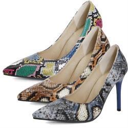 【JP Queen New York】漸層蛇紋性感尖頭都會女仕高跟鞋(3色可選)