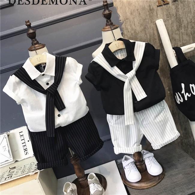 母嬰 新款男童學院風領帶襯衫 短褲套裝男童時尚套裝夏季新款男童時尚套裝母婴