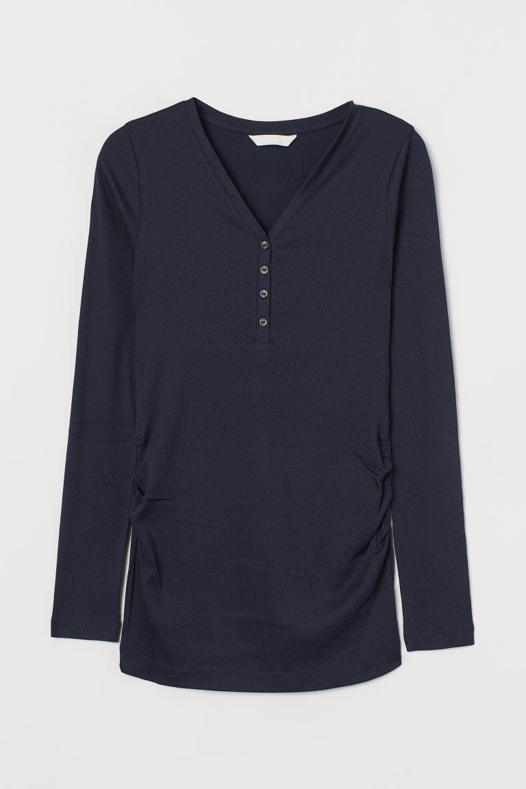 H & M - MAMA 羅紋上衣 - 藍色