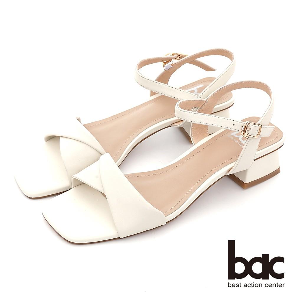 【bac】復古扭轉一字帶粗跟涼鞋 - 白色