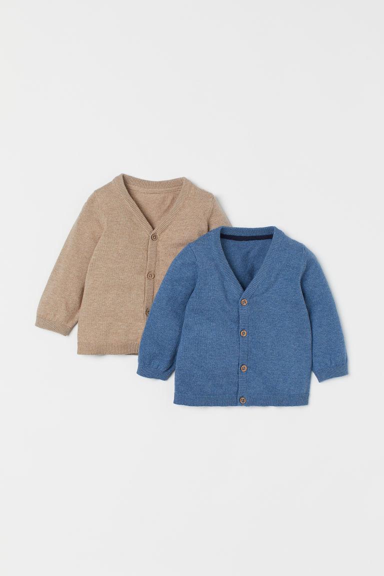 H & M - 2件入棉質開襟衫 - 藍色