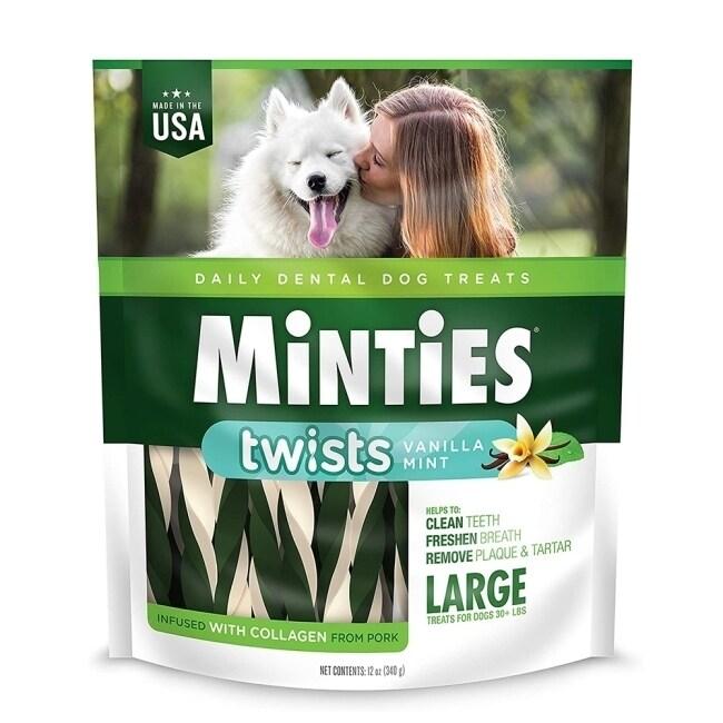 【MiNTiES猛特斯】白綠雙效低脂潔牙骨(L) 12oz(14支入)VM-41