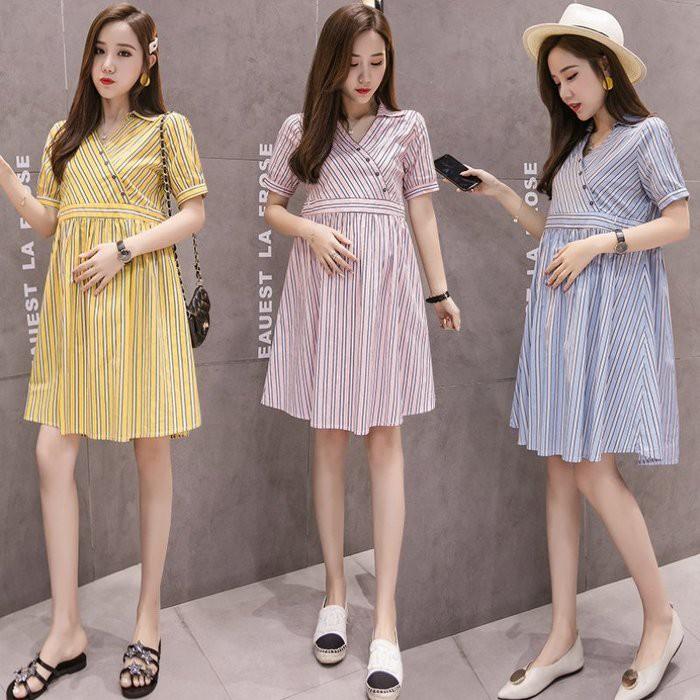 漂亮小媽咪條紋洋裝 【D6356】 韓系 修身 顯瘦 孕婦裝 條紋 V領 襯衫領 短袖 洋裝