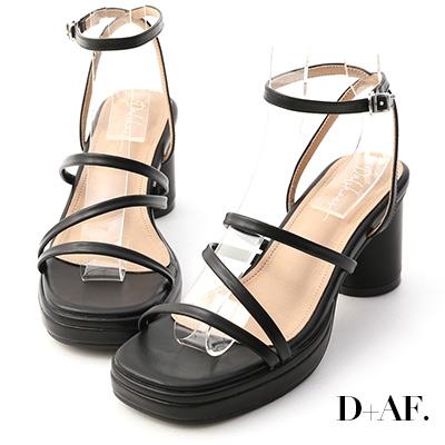 D+AF 仲夏焦點.Z字細帶加厚水台涼鞋*黑