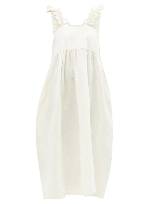 Cawley Studio - Iris Hand-smocked Linen Midi Dress - Womens - Ivory
