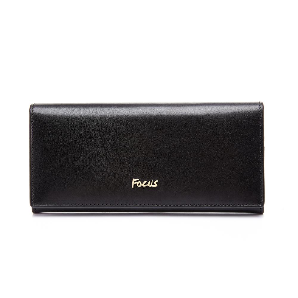 FOCUS原皮時尚黑鈕扣多卡長夾(FGC3473)