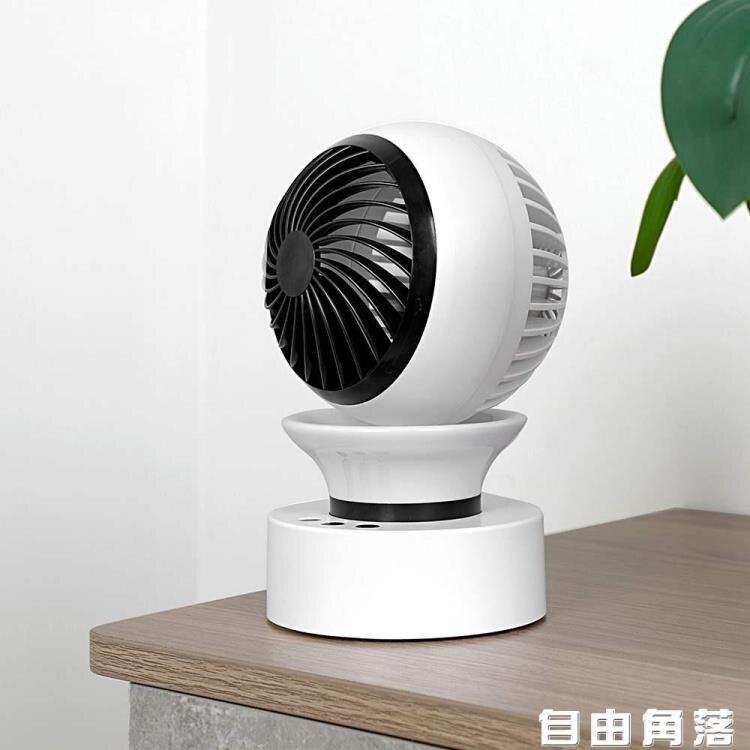 【夏季新品】usb充電小風扇 帶自動搖頭 七彩小夜燈電風扇 迷你靜音可充電風扇 桌面台式小型充電風扇