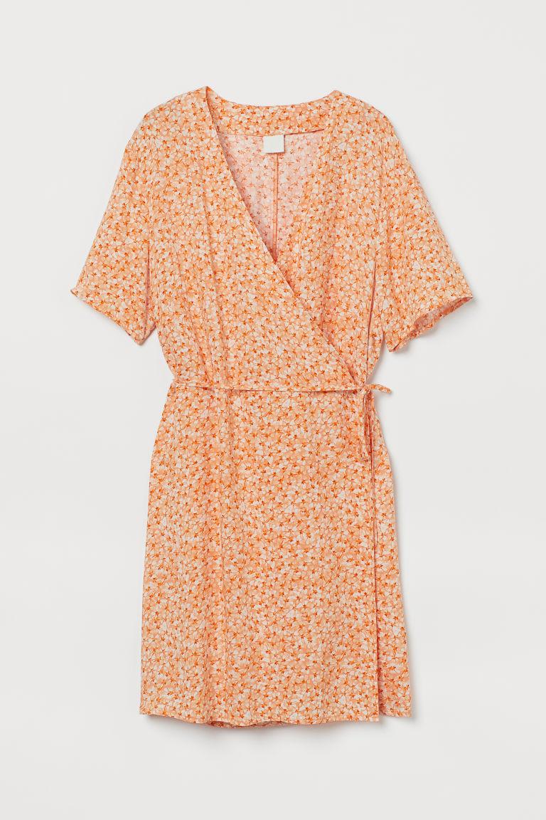 H & M - 交疊式洋裝 - 橙色