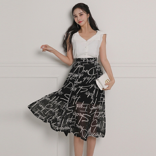 OL兩件套韓版v領無袖修身襯衣 高腰垂感印花大擺裙兩件套5893#NA71快時尚