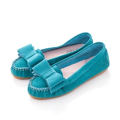 G.Ms. 雙層蝴蝶結真皮莫卡辛豆豆鞋-麂皮湖水綠