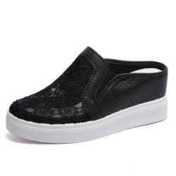 【Taroko】韓風蕾絲厚底懶人透氣網面半拖鞋(2色可選)