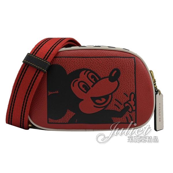 茱麗葉精品【專櫃款 全新現貨】COACH C1141 迪士尼聯名 撞色米奇迷你相機包.紅/黑