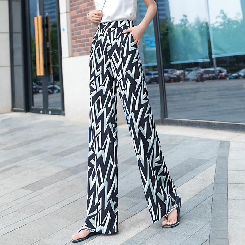 夏季時尚幾何花色高腰寬鬆直筒垂感拖地長褲時尚冰絲薄款印花休閒褲