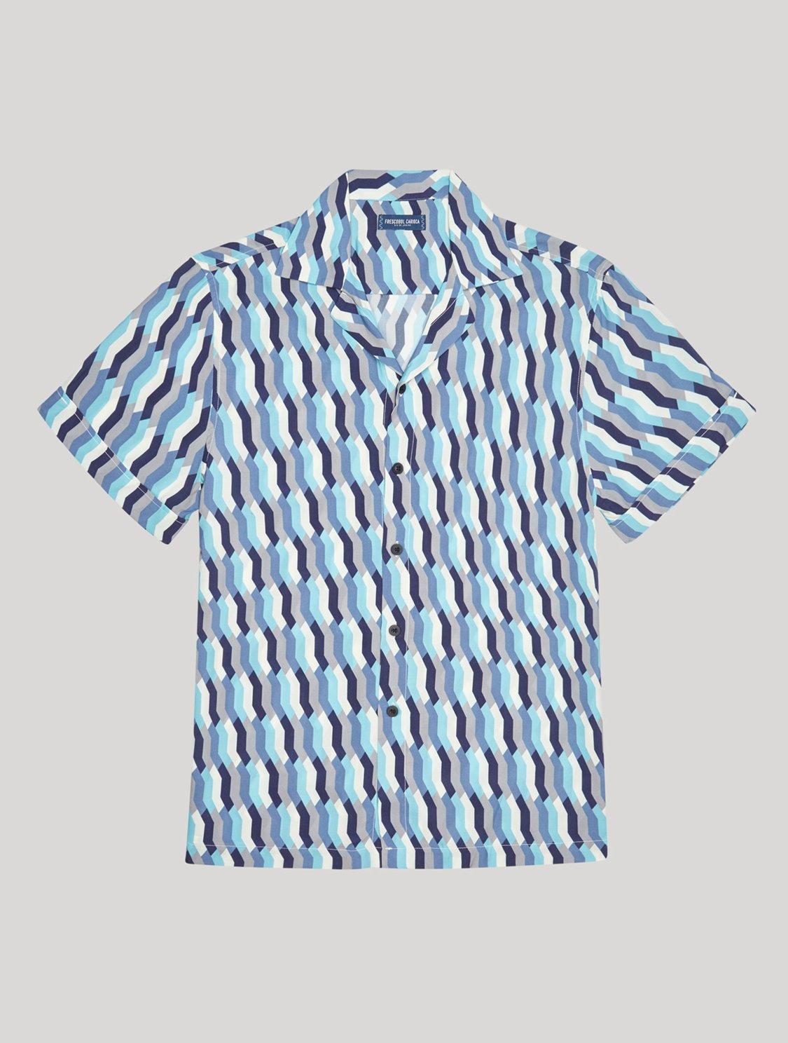 Roberto Shirt Mosaique Print Navy-Blue M
