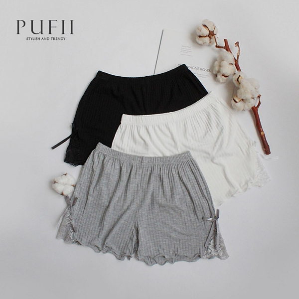 PUFII-安全褲 坑條側蕾絲鬆緊腰安全褲-0603 現+預 夏【CP20500】