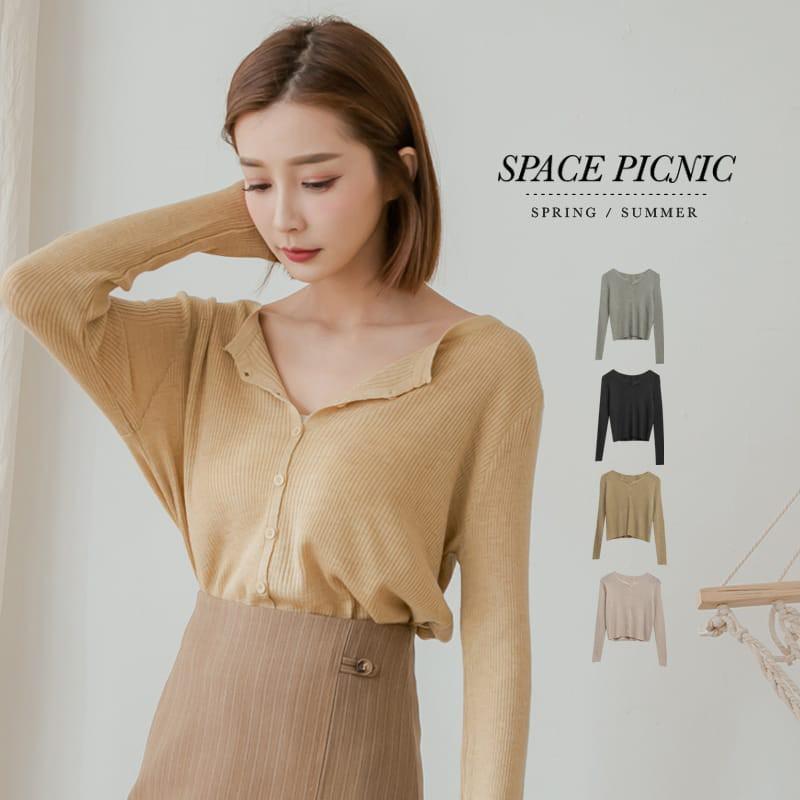 Space Picnic|素面坑條排釦長袖上衣(現貨)【C21034100】