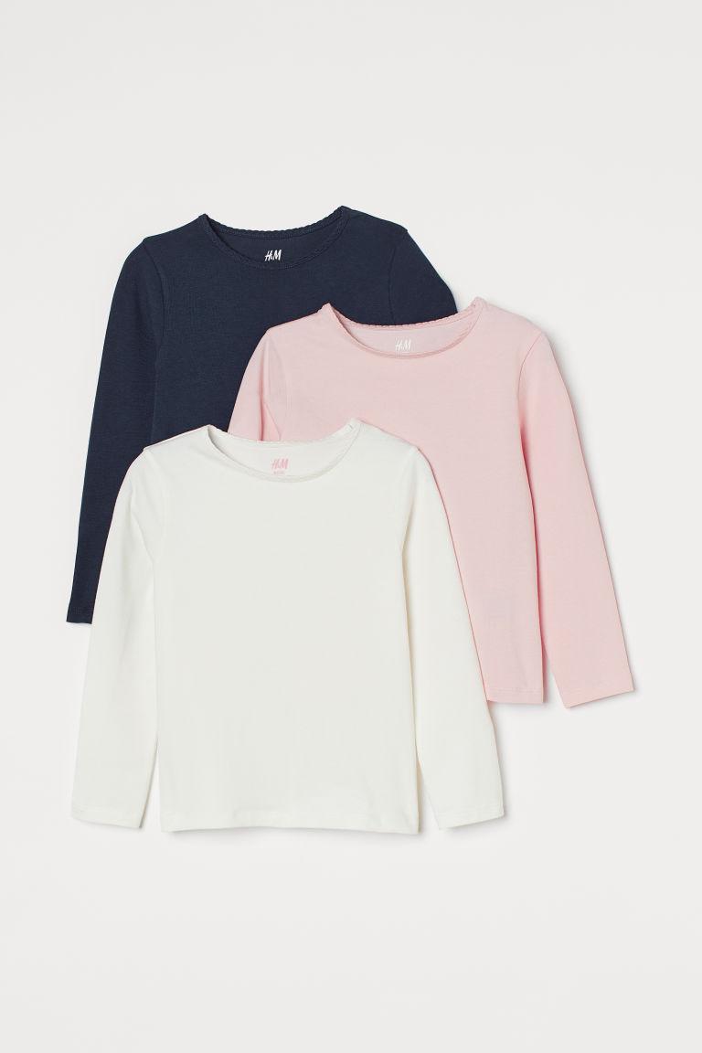 H & M - 3件入長袖上衣 - 粉紅色