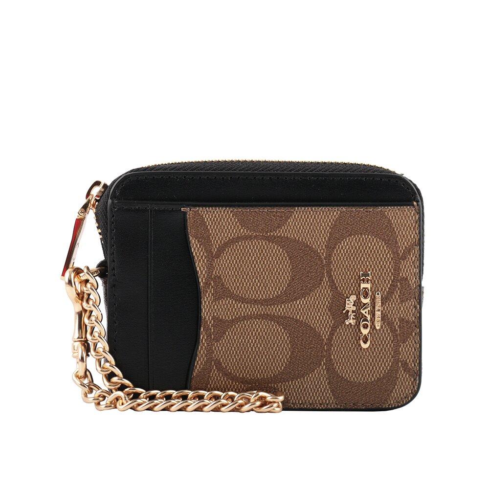 COACH PVC 拚皮革L型拉鍊卡夾/零錢包(黑色/卡其/巧克力) C1885 IMNOX