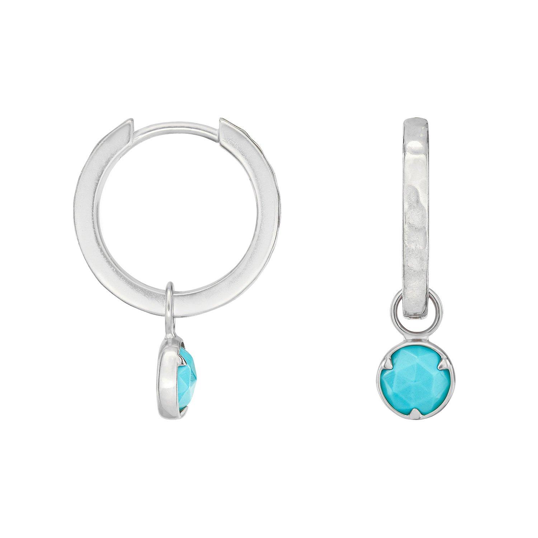 Medium Huggie Hoop with Azure Turquoise Drop