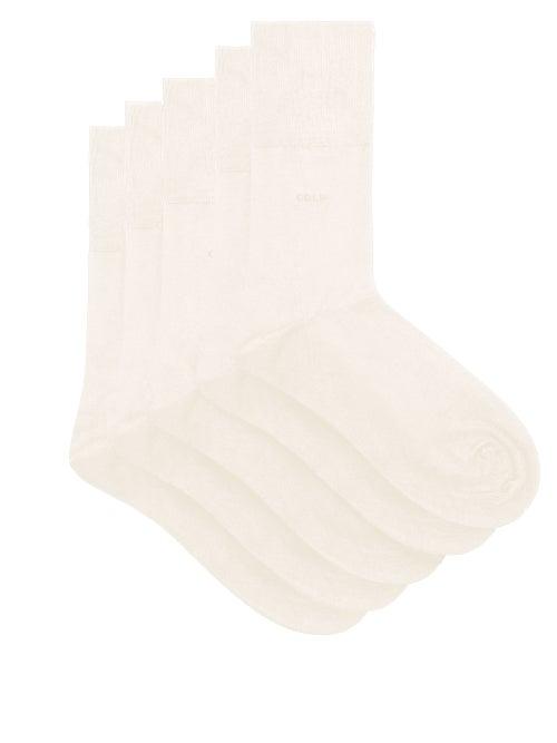 CDLP - Pack Of Five Bamboo-blend Socks - Mens - White