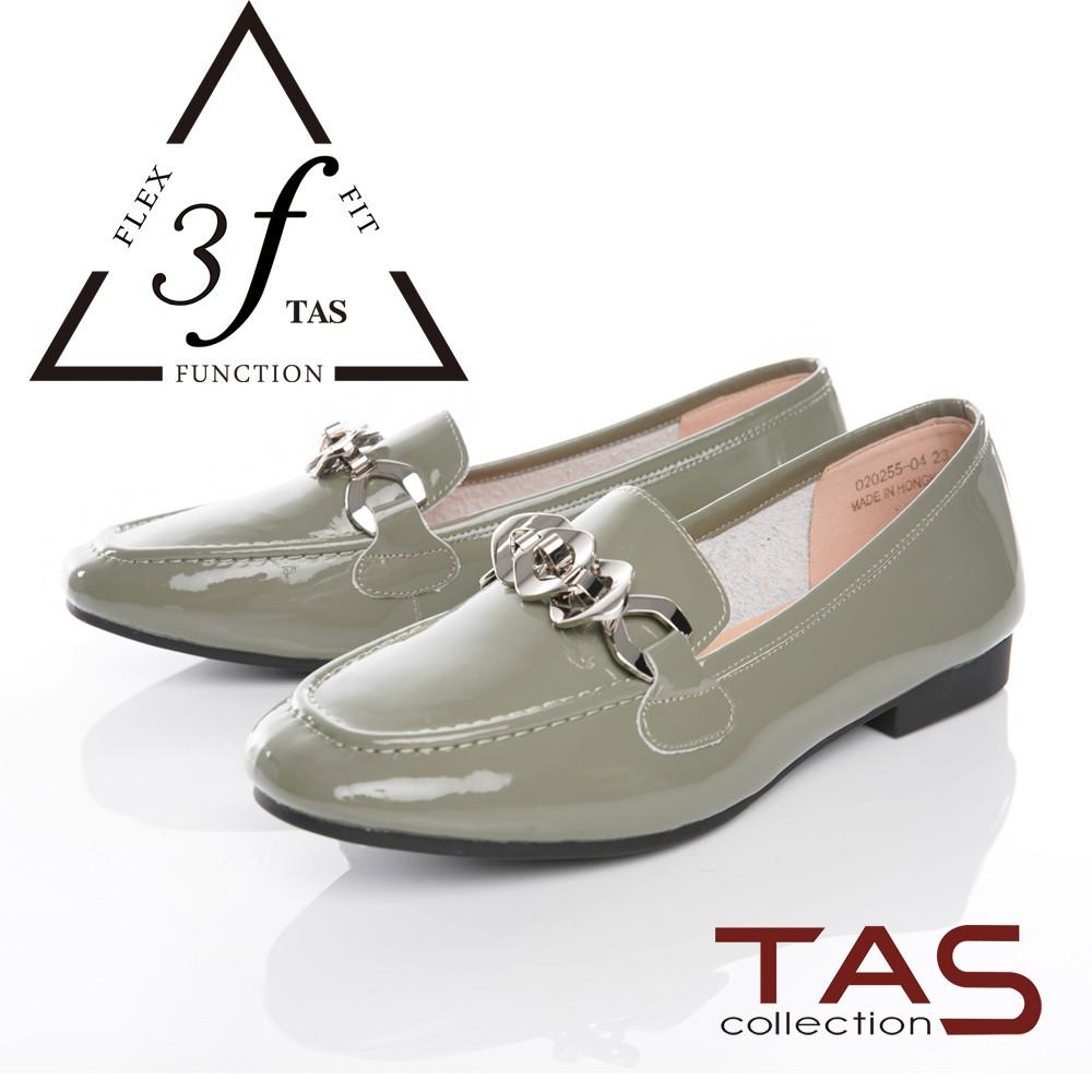 TAS一字金屬鍊漆皮樂福鞋-薄荷綠