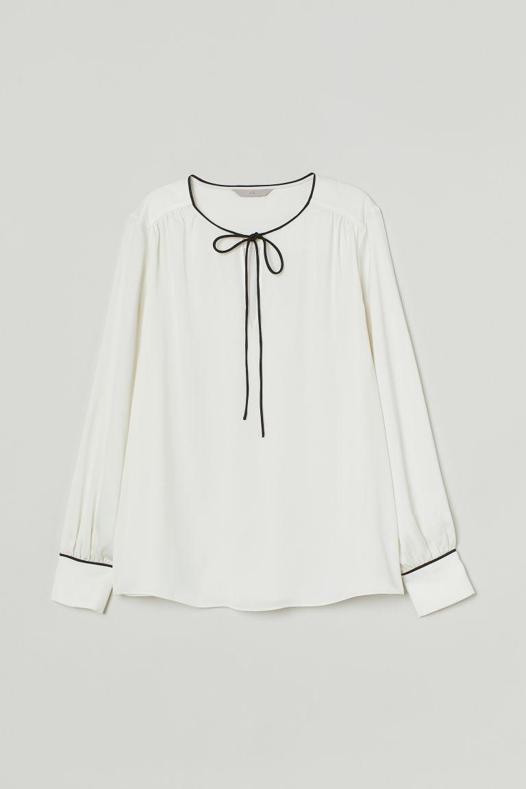 H & M - 前綁結綢緞女衫 - 白色