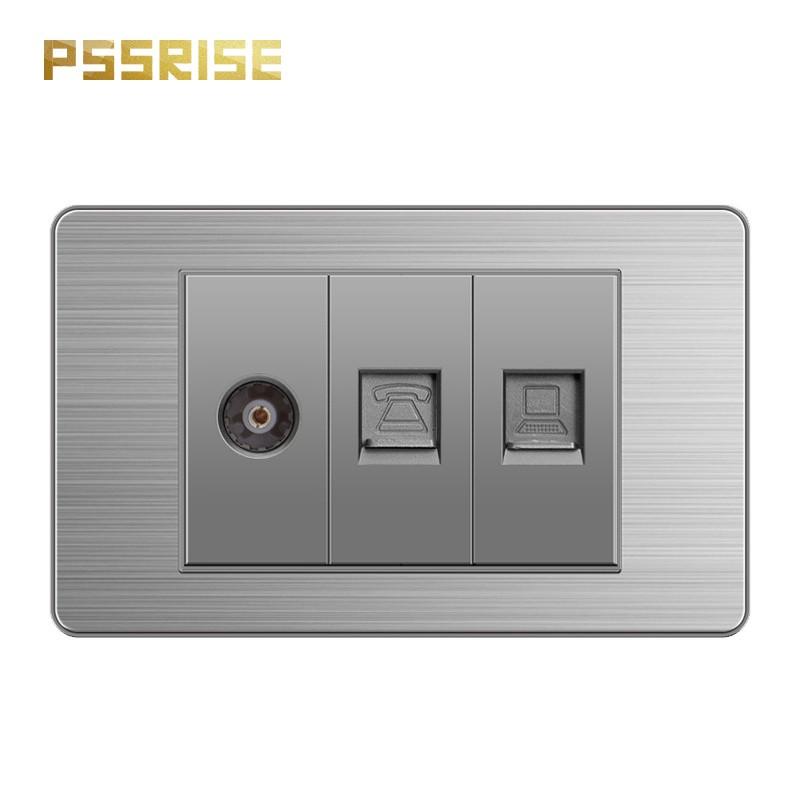 PSSRISE 派瑟士 118型電視電話電腦插座 電料   不銹鋼面板 美國註冊商標  帶熒光指示燈 兩年保固【S18】