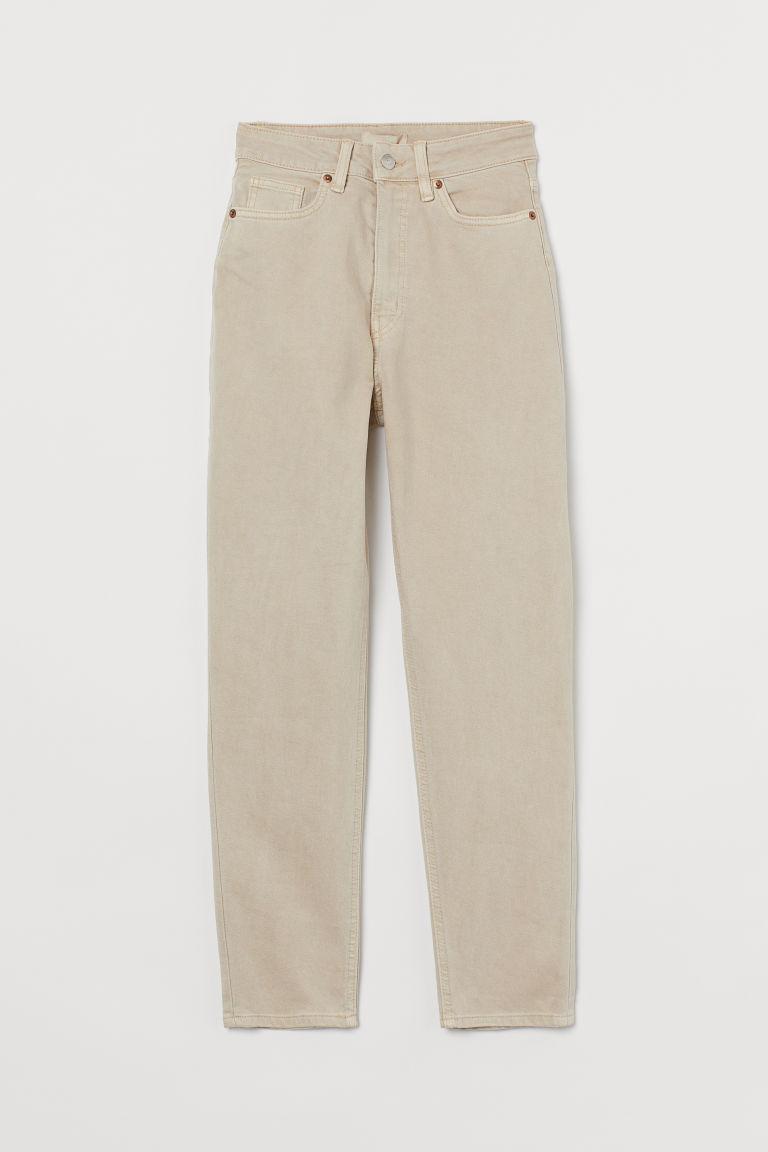 H & M - 貼身老媽高腰九分牛仔褲 - 米黃色