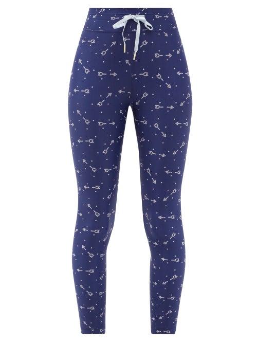 The Upside - Bandhini Cropped Arrow-print Leggings - Womens - Blue Print