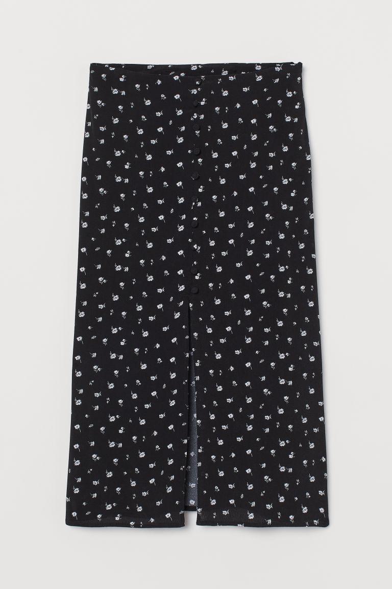 H & M - 開衩中長裙 - 黑色