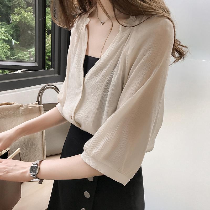 韓版新款女裝寬鬆大尺碼雪紡衫女七分袖簡約百搭襯衫女生上衣