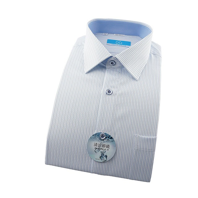 SHIRT'S HOUSE 白底藍色細條 領座配布 清涼節能特殊材質合身長袖襯衫86103-02-襯衫工房