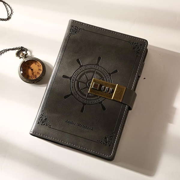 記事本 復古密碼本帶鎖日記本創意手帳密碼筆記本本子 多功能簡約記事本魔法書