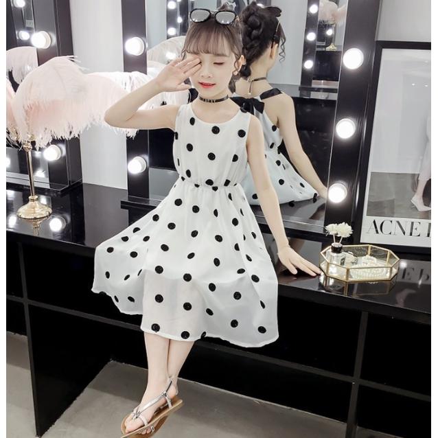 女童氣質圓點無袖洋裝 短袖洋裝 中大童洋裝 女童洋裝 女童連衣裙【蘋果小舖】(AA) 2006 A6