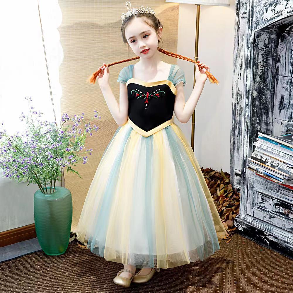 外銷款  全棉女童安娜公主手工釘珠短袖網紗洋裝(不含頭飾)