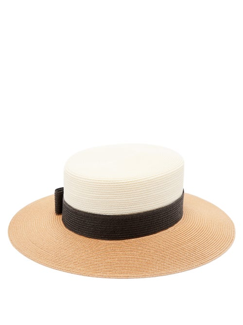 Gucci - Bow-embellished Faux-straw Hat - Womens - Beige Multi