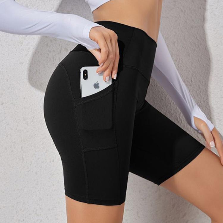 瑜珈褲 健身 歐美側口袋緊身高腰提臀速乾五分健身褲(黑色)【RCG099】