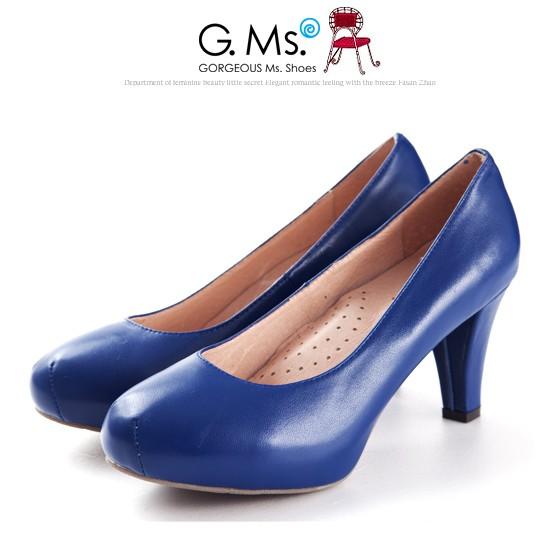 G.Ms.推薦通勤鞋‧靜音鞋跟真皮厚底粗跟包鞋‧寶藍34碼
