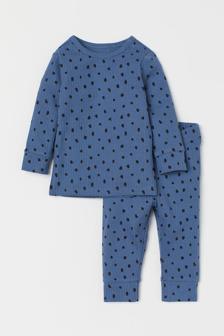 H & M - 羅紋棉質2件組套裝 - 藍色