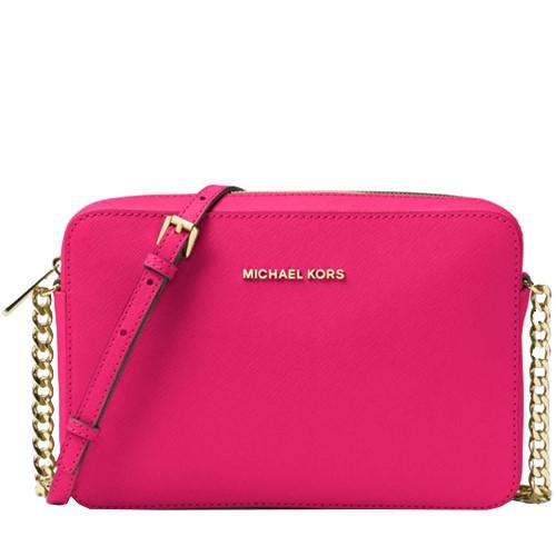 MICHAEL KORS 相機包 盒子包 十字紋防刮真皮 鍊條包 側背包 斜背包 M05479 桃紅色MK(現貨)
