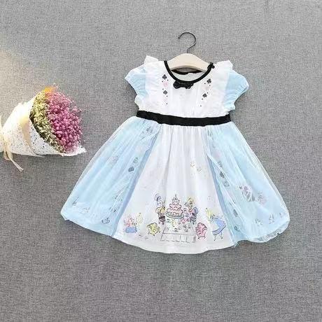 外銷款  歐美童裝全棉女童愛麗絲短袖洋裝