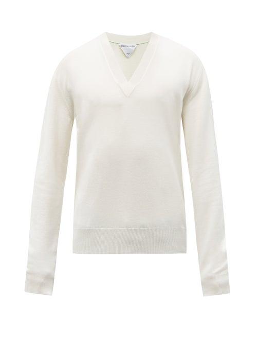 Bottega Veneta - V-neck Wool-blend Sweater - Mens - Cream